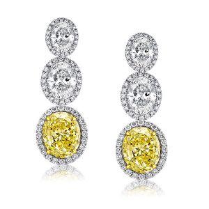 Halo Oval Yellow & White Drop Earrings