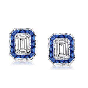 Fligree Halo Emerald Stud Earrings