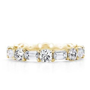 Italo Golden Eternity Created White Sapphire Wedding Band