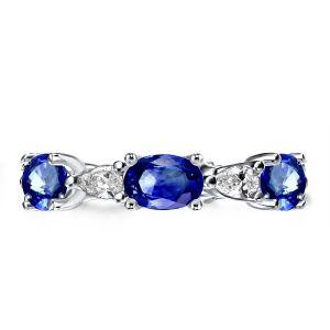 Blue And White Diamond Wedding Band