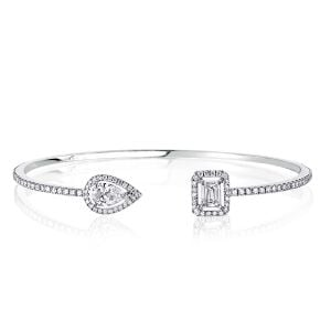 Halo Pear & Emerald Cut Bracelet