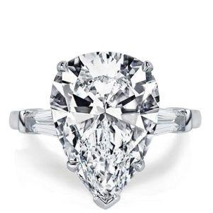 Three Stone Pear Shaped Engagement Ring