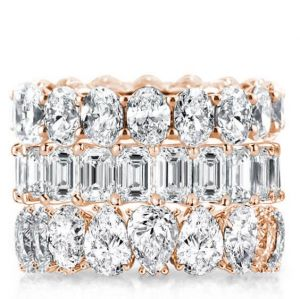 Rose Gold Triple Row Oval & Emerald & Pear Stackable Band Set