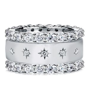 Triple Row Round Cut Eternity Stackable Band Set