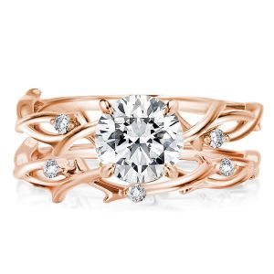 Twist Design Rose Golden Round Cut Bridal Set
