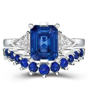 Three Stone Emerald Created Sapphire Bridal Set