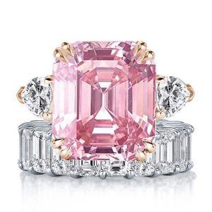White & Pink Sapphire Emerald Cut Three Stone Bridal Set