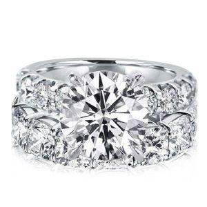Cushion & Round Cut White Sapphire Bridal Set
