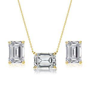 Emerald Pendant Necklace & Emerald Stud Earrings Set