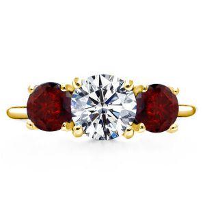 Three Stone Created Garnet Engagement Ring