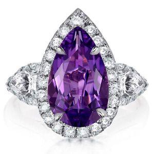 Pear Halo Three Stone Created Amethyst Engagement Ring