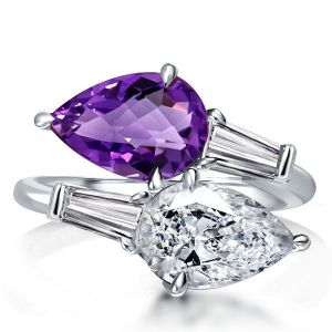 Pear Cut Twin Stone Created Amethyst Engagement Ring