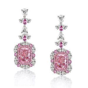 pink sapphire drop earrings