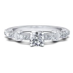 Cathedral Milgrain Round Engagement Ring (0.97 CT. TW.)
