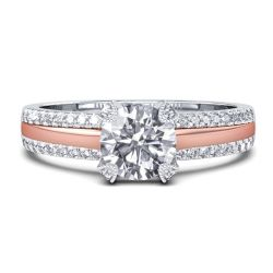 Two Tone Double Row Pave Band Engagement Ring (0.98 CT. TW.)