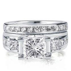 Three Stone Wedding Ring Set