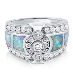 Bezel Opal Engagement Ring