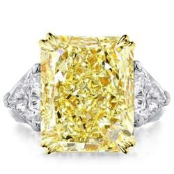 Double Prong Three Stone Yellow Radiant Cut Engagement Ring