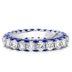 White And Blue Sapphire Wedding Band