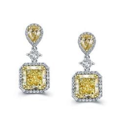 Halo Yellow Pear & Cushion Cut Silver Drop Earrings