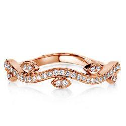 Wave Design Rose Gold Round Cut Wedding Band