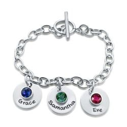 Personalized Engraved With Birthstone Charm Bracelet