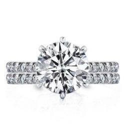 Classic Half Six Prong Round Cut Eternity Bridal Set