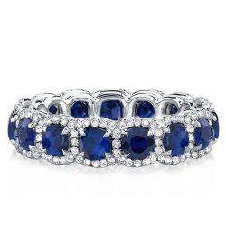 Halo Created Sapphire Round Wedding Band