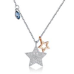 Fashion Rose Gold Stars Design Pendant Beautiful Necklace
