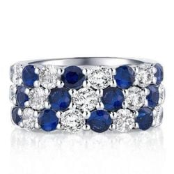 Alt. Sapphire Round Cut Triple Row Wedding Band