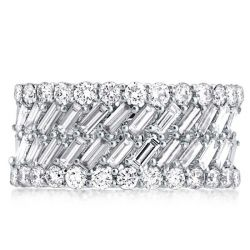 Multi Row Baguette & Round Wedding Band