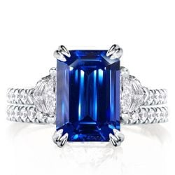 Double Prong Created Sapphire Three Stone Emerald Cut Bridal Set