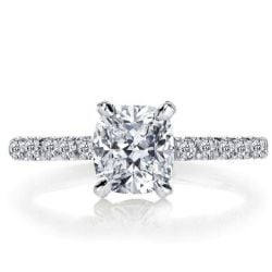 Italo Classic Cushion Created White Sapphire Engagement Ring