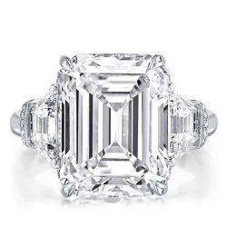 Classic Three Stone Emerald Cut Engagement Ring