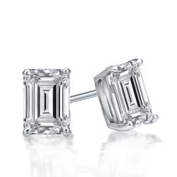 Italo Classic Emerald Created White Sapphire Stud Earrings