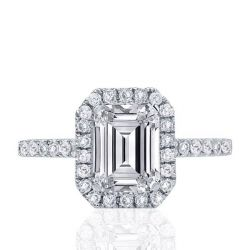 Classic Halo Emerald Engagement Ring
