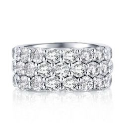 Italo Triple Row Created White Sapphire Wedding Band