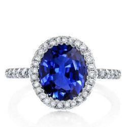 Italo Halo Created Sapphire Engagement Ring