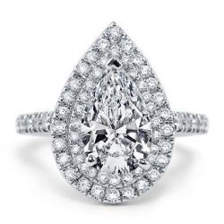 Italo Double Halo Pear Created White Sapphire Engagement Ring