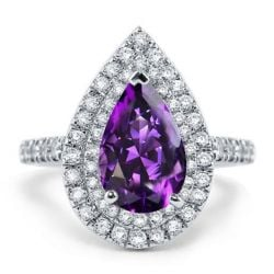 Italo Double Halo Pear Created Amethyst Engagement Ring
