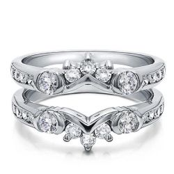 White Sapphire Ring Guard Band