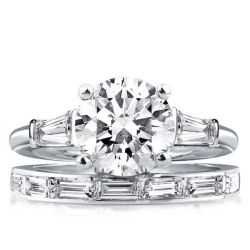 Three Stone Round & Baguette Cut Bridal Set