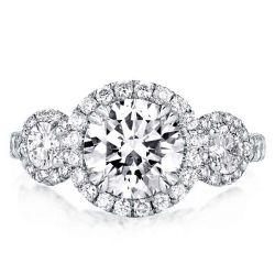 Double Prong Three Stone Round Halo Engagement Ring
