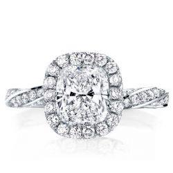 Classic Twist Design Cushion Cut Halo Engagement Ring