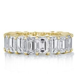 Golden Emerald Eternity Wedding Band