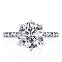 Half Eternity Six Prong Engagement Ring