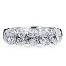 Italo Oval Half Eternity Created White Sapphire Wedding Band