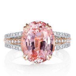Two Tone Double Prong Pink Oval Cut Engagement Ring
