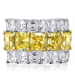 Multi Row Cushion & Asscher Cut Wedding Band For Womens