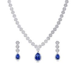 Sapphire Necklace Earring Set